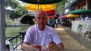 Dan enjoying a good lunch and feeding the birds at Casa Rio